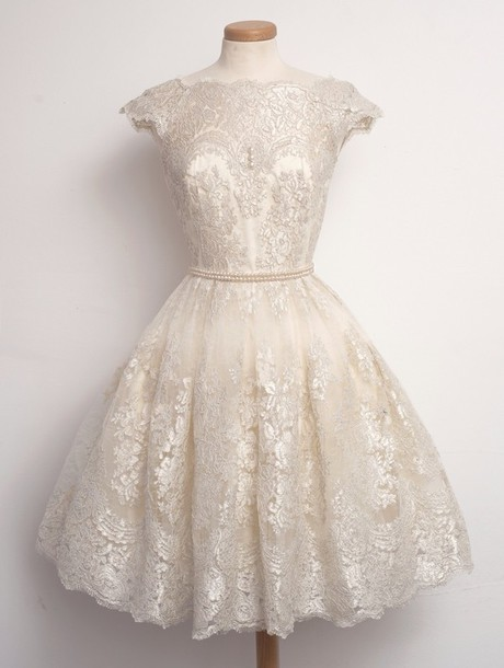 Dress wedding dress short vintage lace dress white for Beige short wedding dresses