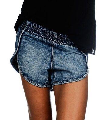 shorts denim jeans acid wash acid washed shorts elastic waist elastic band not chinese small size