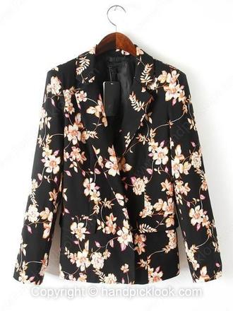 black coat florl coat top
