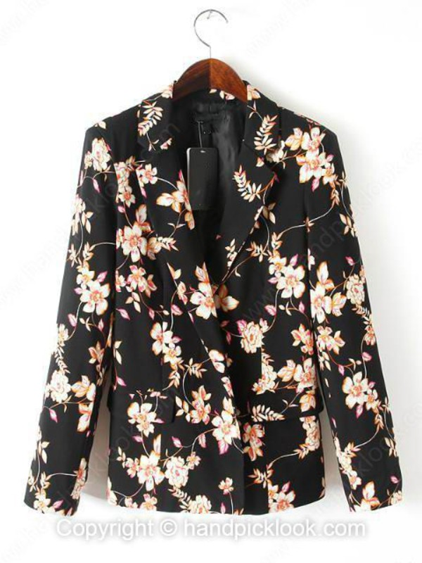 black coat florl coat top