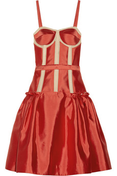 Mesh-trimmed silk and cotton-blend satin dress   THE OUTNET