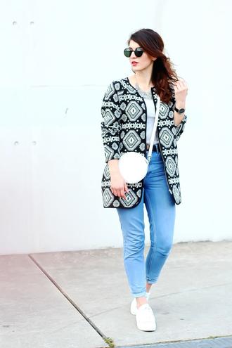 samieze blogger coat jeans shirt bag