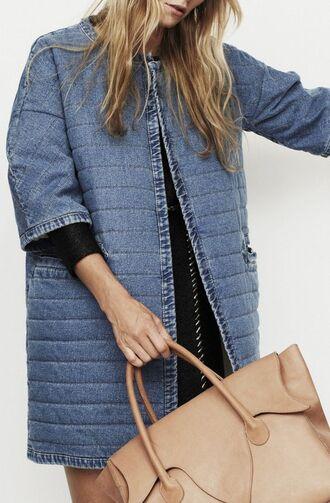 coat denim denim coat quilted denim jacket spring summer leather bag three-quarter sleeves nude bag