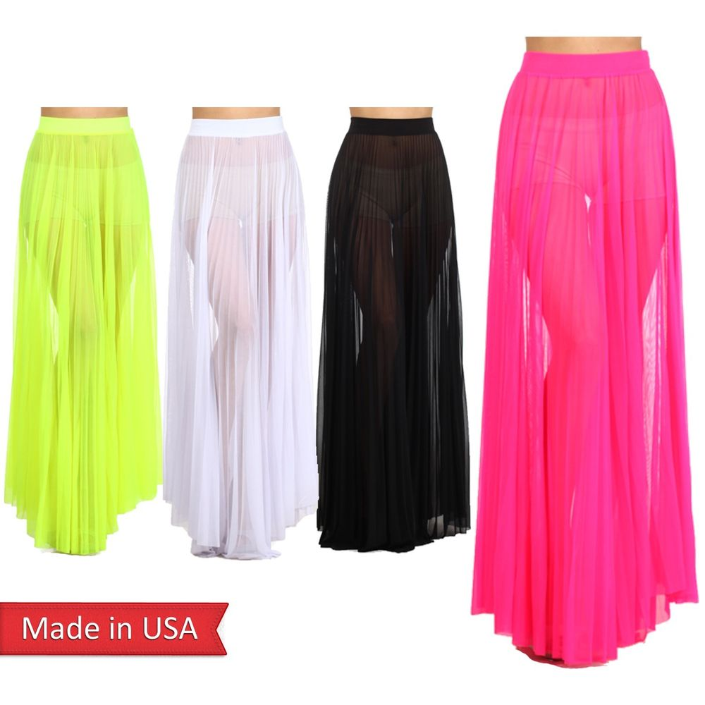 New Trendy Neon Color Mesh See Through Pleated A Line High Waist Maxi Skirt USA