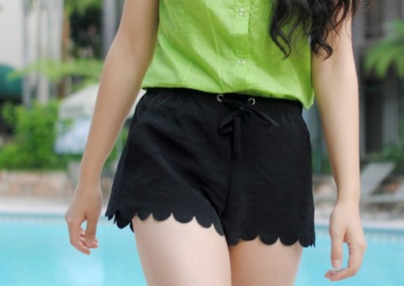 tie up black shorts scalloped green button down