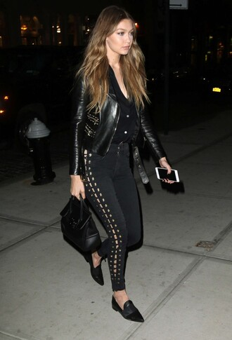 pants top lace up gigi hadid all black everything model off-duty flats jacket biker jacket