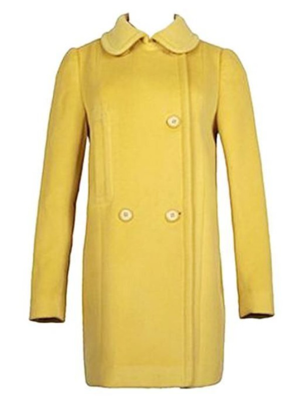 lemon yellow coat yellow coat lapel coat three button coat warm coat www.ustrendy.com