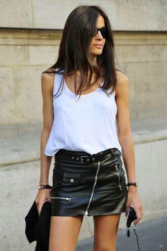 skirt leather leather skirt belt zip zipped skirt zip-up skirt white top mini skirt black leather skirt black skirt summer outfits