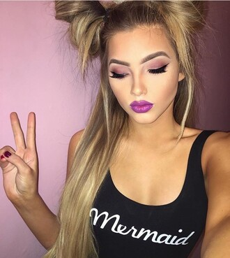 top tank top black mermaid logo jumpsuit bodysuit buns girly selfie purple lipstick lipstick blonde hair graphic tee