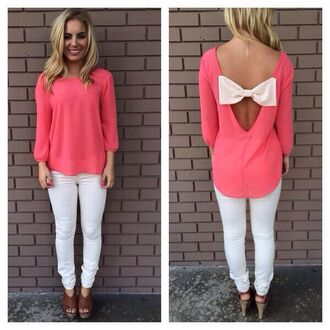 blouse pink bows white bow top shirt coral white bow bow in back
