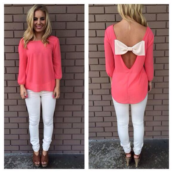 white bow top blouse pink bows shirt coral white bow bow in back pink, white bow pink, bow, shirt, white, pants