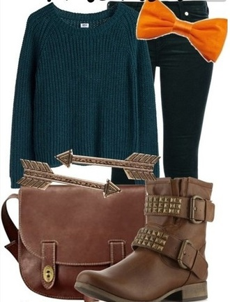 t-shirt disney merida sweater character inspired boots shoes purse bow orange jeans blue teal turquoise