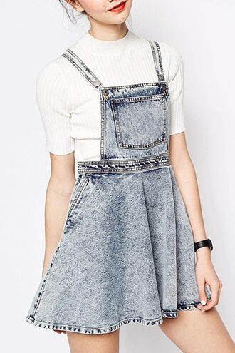 dress acid wash babydoll dress overalls jumpsuit romper skater skirt denim denim romper back to school kawaii cute grunge hipster zaful bleached streetwear casual