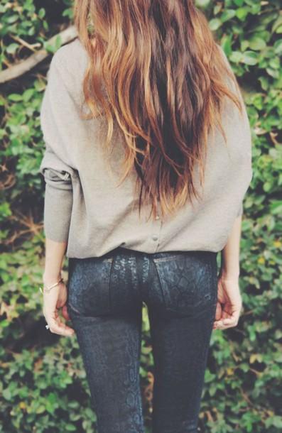 jeans snake print pants