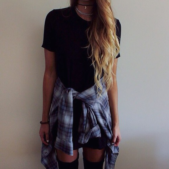 tank top black shirt top checkered checked shirt blue skirt black tank top black top