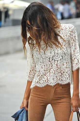 pants suede pants camel pants top lace top white top spring outfits