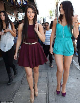 dress burgundy kim kardashian keeping up with the kardashians cute dress kylie jenner shorts blouse