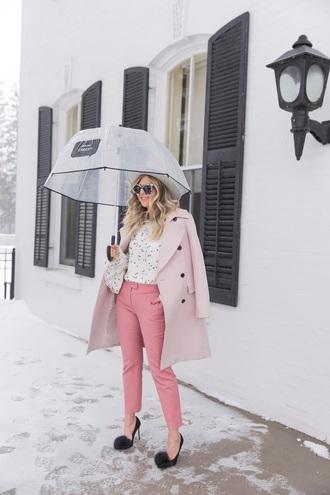 suburban faux-pas blogger coat t-shirt blouse pants shoes sunglasses bag pink coat pink pants pumps pom pom heels