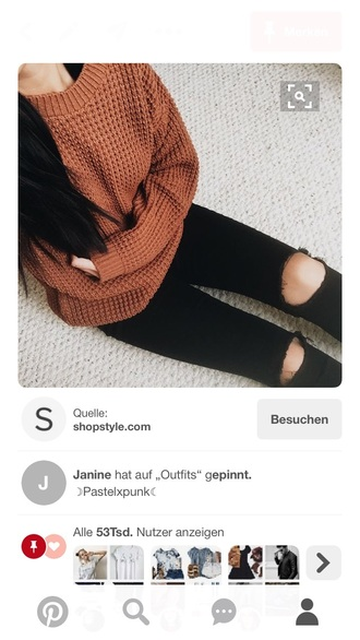 sweater brown red orange fall winter pullover sweater