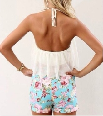 shorts flowered shorts blue floral shorts blue shorts summer floral shorts summer shorts