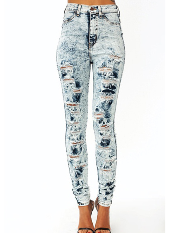 High Waist Acid Wash Heavy Distressed Ripped Cut Back Detailed Skinny Jean Pants | eBay