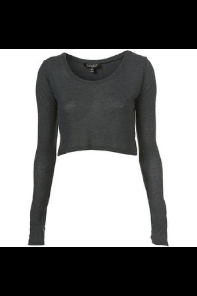 Topshop Dark Grey Ribbed Long Sleeve Crop Top - Size 6 | eBay