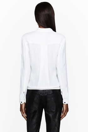 Helmut Lang Off-white Crepe & Leather Morse Drop Top for women | SSENSE