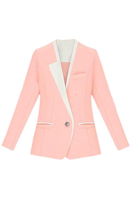 ROMWE | Color Block Pink Blazer, The Latest Street Fashion