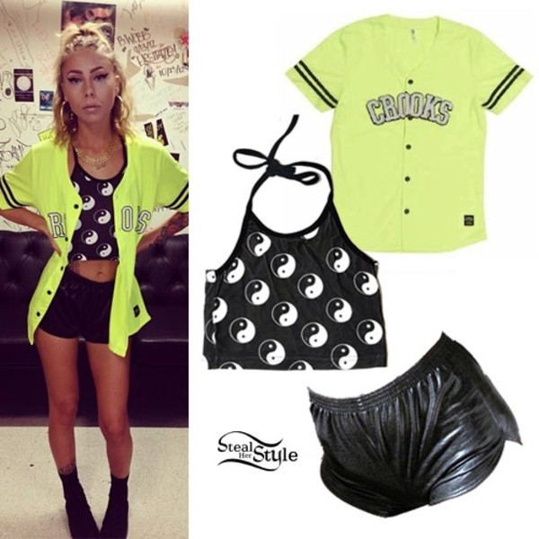 t-shirt shorts shirt yin yang neon yellow crooks and castles