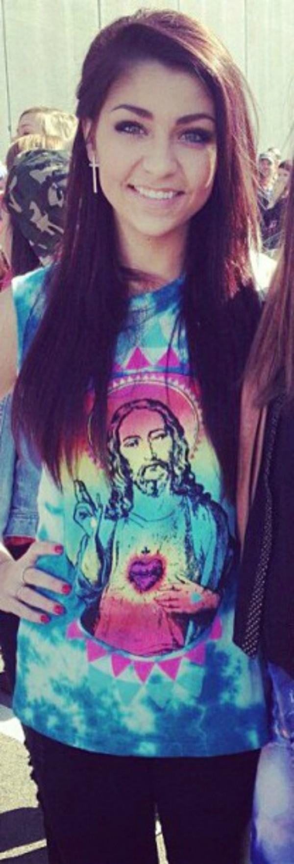 tank top blue jesus girl tie dye andrea russett beautiful t-shirt