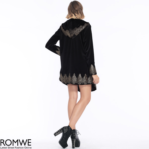 ROMWE | Baroque Embroidered Black Velvet Coat, The Latest Street Fashion
