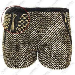 New Women Gold Sequin Hot Pants High Waisted Shorts Stretch Zip Top Look | eBay