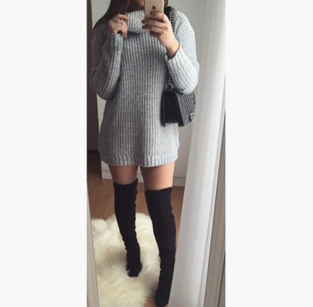 dress grey turtleneck shoes