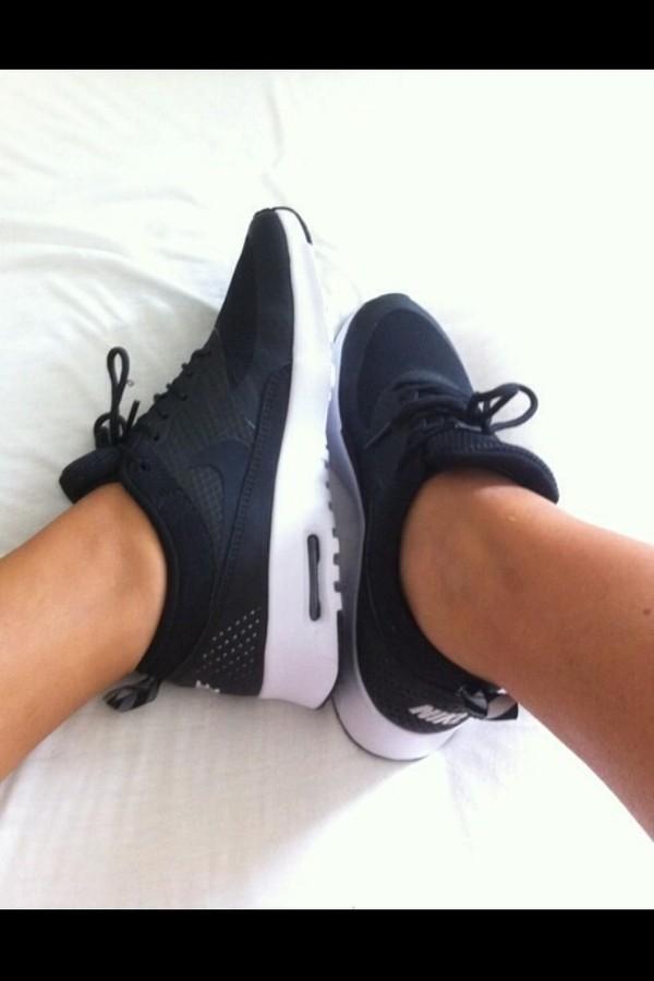shoes black nike air nike air max thea