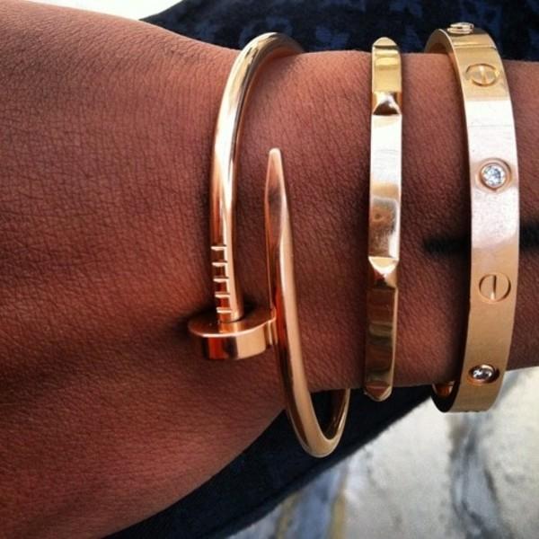 jewels nail bracelet bent nail bracelet gold bracelet