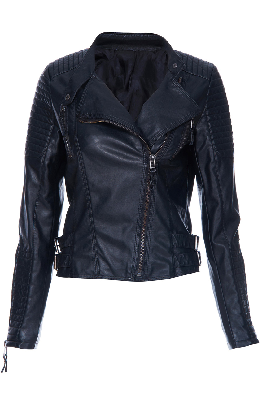 ROMWE   Black Long Sleeve Zipper PU Leather Jacket, The Latest Street Fashion