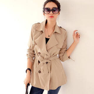 Flap-Front Double-Breasted Trench Coat - Sweet Dolly | YESSTYLE