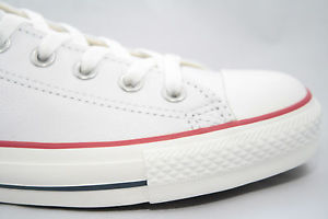 Women's Converse Chuck Taylor All Star White Leather Lo with Red Black Stripe | eBay