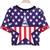 Blue Short Sleeve Stars Print Crop T-Shirt - Sheinside.com