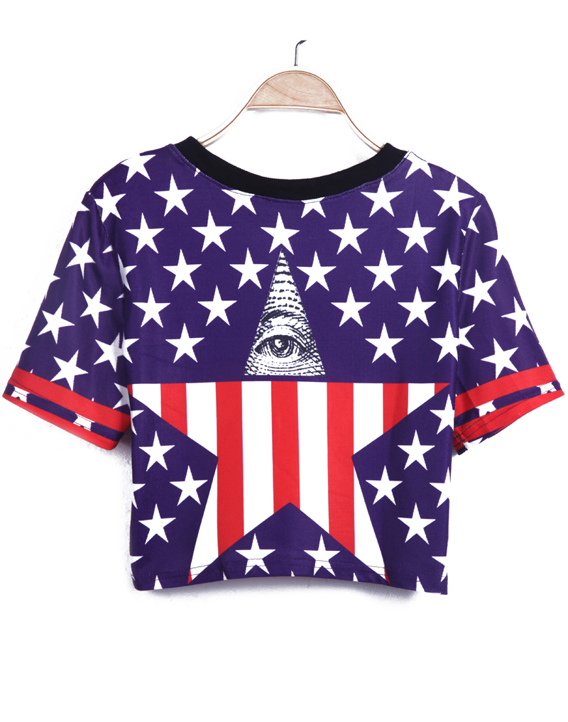 Blue Short Sleeve Stars Print Crop T-Shirt - Sheinside.com