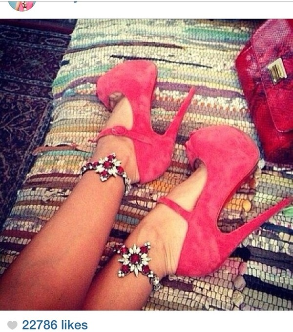 shoes coral high heels bow jewels