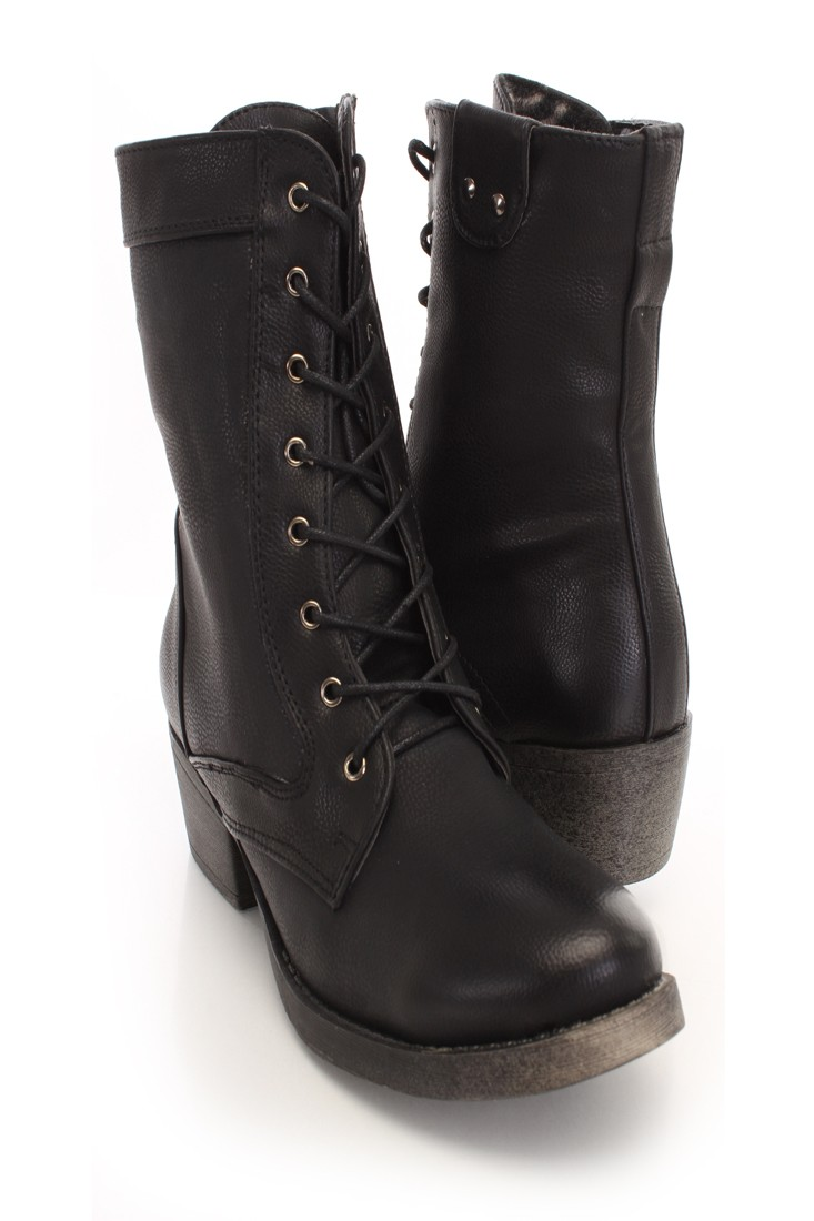 Black Faux Leather Lace Up Combat Boots @ Amiclubwear Boots Catalog:women's winter boots,leather thigh high boots,black platform knee high boots,over the knee boots,Go Go boots,cowgirl boots,gladiator boots,womens dress boots,skirt boots,pink boots,fashio