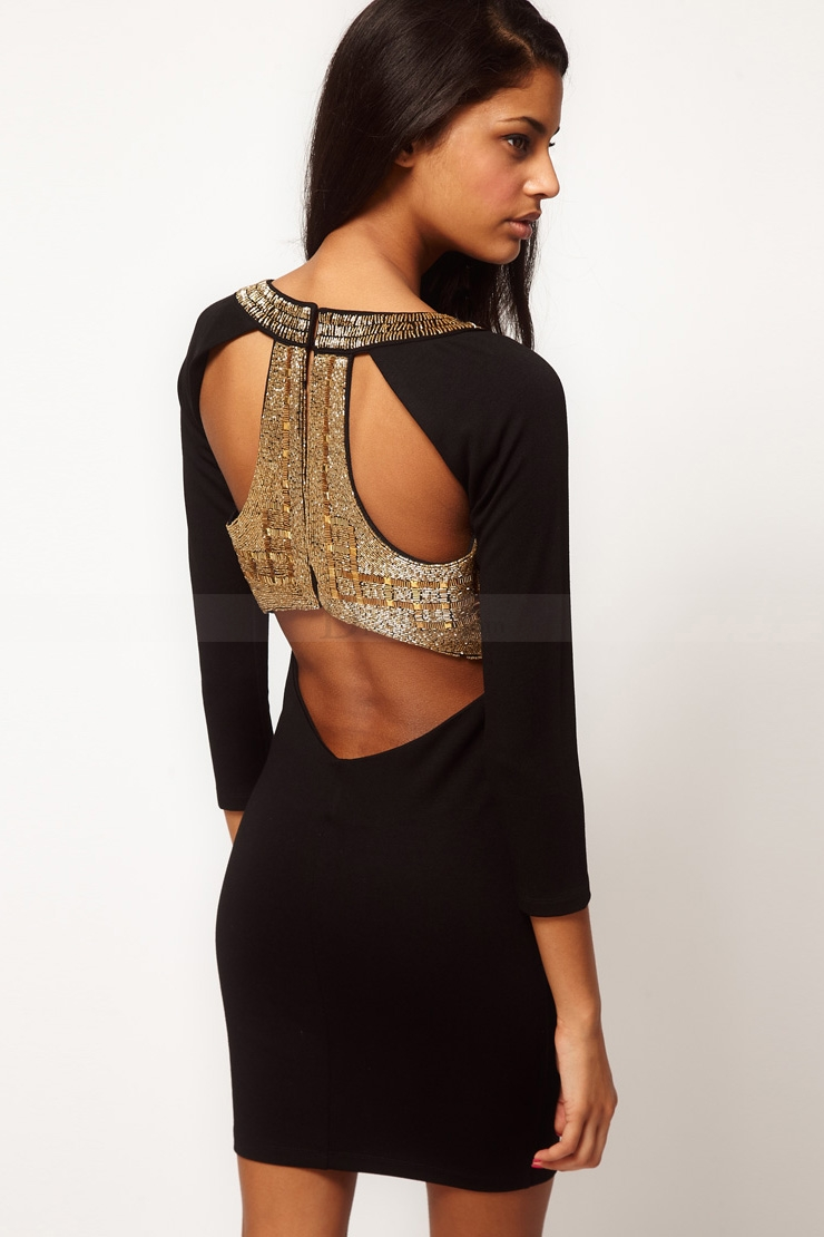 Glaring Golden Scoop Neck Cocktail Dress in Black with Show-stopping Back Detail, Quality Unique Cocktail Dresses - Dressale.com