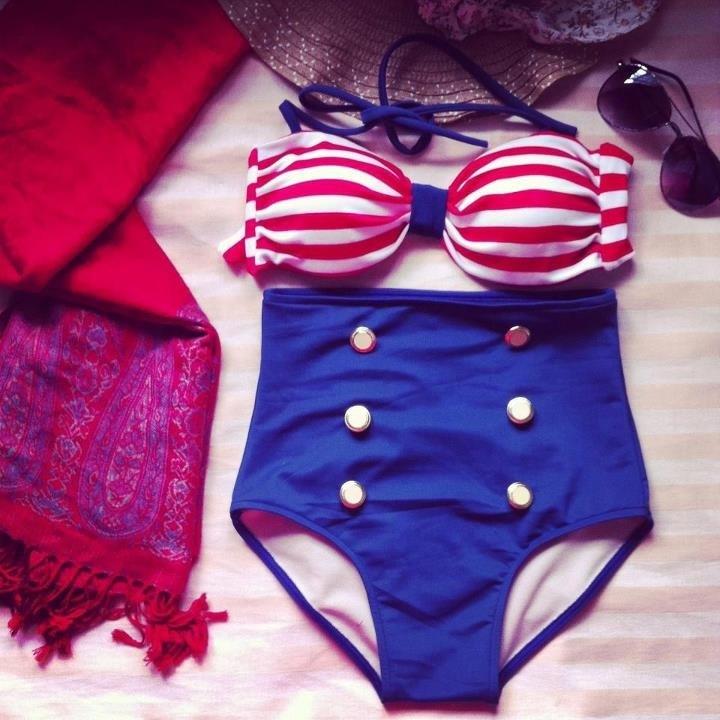 Vintage Push up Swimsuit High waist stripe Bikini from Daisy Dress For Less on Storenvy