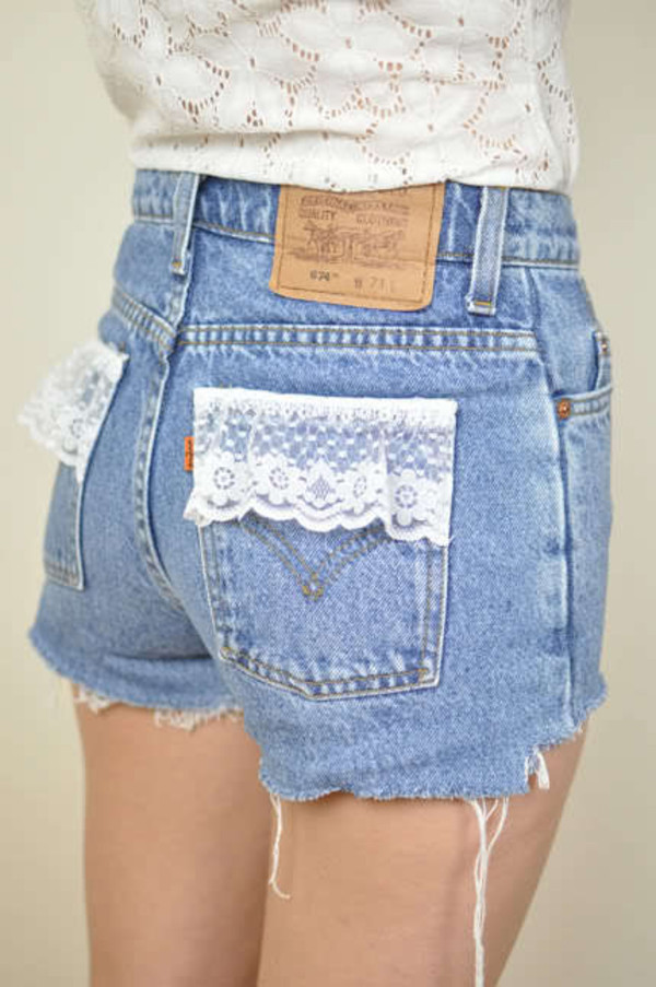 pants blouse shorts denim blue shorts high waisted flower pockets
