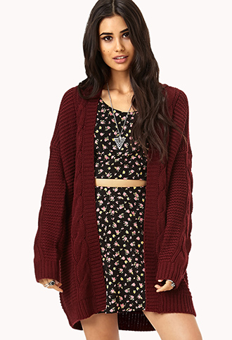 Longline Mixed Knit Cardigan   FOREVER21 - 2000128733