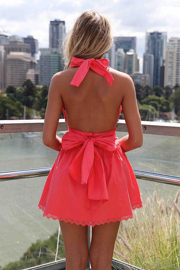 Pink Halter Dress - Pink Halter Dress with Open | UsTrendy