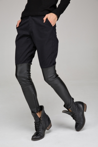 Leather look panel trousers - FrontRowShop