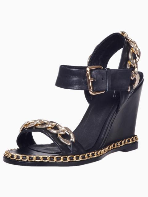 Black Chain Strap Wedge Sandals | Choies