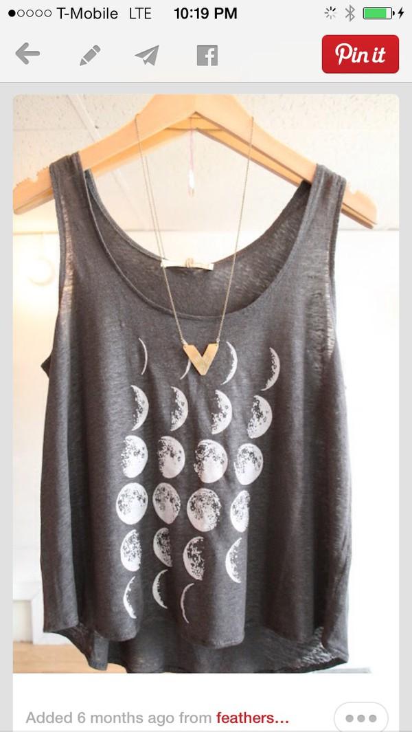 tank top grey moon shirt tank top